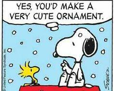 Snoopy and Woodstock Sitting on Top of Snoopy's Doghouse While It's Snowing - Yes, You'd Make a Very Cute Ornament