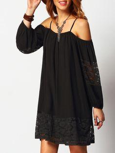 Чёрное стильное платье с открытыми плечами с кружевной вставкой  1588