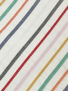 merry // cotton // a lightweight natural singlecloth with lace textured stripes in hits of multicolors // april 2017 Ace And Jig, Textiles, Dobby, Stripe Print, Spring, Printing On Fabric, Swatch, Weaving, Stripes