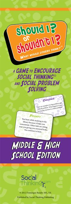 What Would Others Think? A game to encourage Social Thinking and social problem solving. // this goes well with our problem solving and identifying & exhibiting appropriate behavior programs! Social Skills Lessons, Social Skills Activities, Teaching Social Skills, Social Emotional Learning, Coping Skills, Therapy Activities, Life Skills, Therapy Ideas, Middle School Counseling
