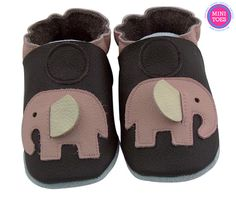 Hand Made, Soft sole, leather brown with pink elephants, soft leather, baby shoes, baby slippers, toddler, booties FREE SHIPPING
