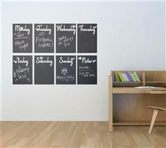 Keep your family organized by writing down weekly commitments, activities, and reminders on this chalkboard wall calendar.