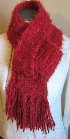 Knitted Scarf in a Pretty Soft Angel Hair Red Yarn by Kitkateden, $18.00