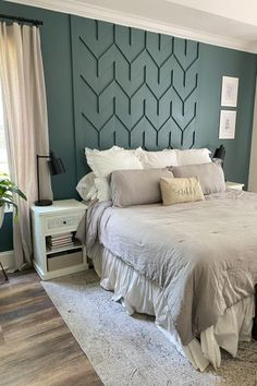 Accent Walls In Living Room, Accent Wall Bedroom, Wood Accent Walls, Paint Colors Master Bedroom, Bedrooms With Accent Walls, Master Bedroom Wood Wall, Painting Bedrooms, Best Bedroom Colors, Accent Wall Decor