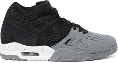 Nike 's 'Air Trainer 3 LE' sneakers combine a cool street-style design with the cushioned comfort typically reserved for performance-specific styles. This two-tone suede pair is spliced with mesh for ventilation and set on Max Air unit-equipped soles for support. Wear them to punctuate monochrome looks. Fits true to size. Take your normal size Black and anthracite suede Max Air heel units, mesh linings, white, black and anthracite rubber soles Lace-u #nikesale #nike #nikeoffer #nikeapparels