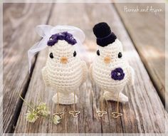 Items similar to No 1 - Crochet bird wedding cake topper - Crochet bride and groom birds - Wedding cake topper - Love birds on Etsy Crochet Birds, Cute Crochet, Crochet Dolls, Amigurumi Patterns, Crochet Patterns, Wedding Doll, Crochet Gratis, Bird Patterns, Little Doll