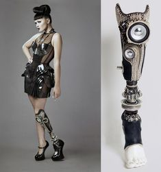 """Amputee model 459296861969352776 - """"The Alternative Limb project works to create prosthetic limbs as subtle or attention getting as an owner desires. Source by sylvainmad Prosthetic Device, Prosthetic Leg, Haute Couture Style, Victorian Steampunk, High Fashion, The Incredibles, Celebs, Stylish, My Style"""