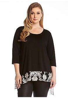 Karen Kane Plus Size Black and White Floral Lace Print Top #Karen_Kane #Plus #Size #Black_and_White #Contrast #Floral #Lace #Print  #Top #Plus_Size #Fall #Fashion #Belk