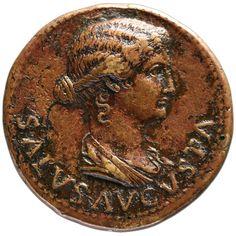 Roman empire, Tiberius for Tiberius and Livia (21–22), Dupond (Brass); Obverse:  Head of Salus