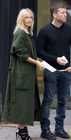 Khaki long coat... - Street Style