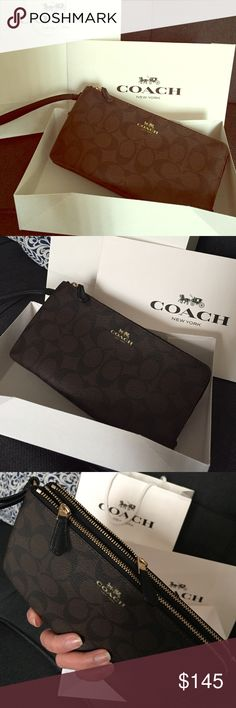 CLASSIC BRAND NEW COACH WRISTLET DOUBLE ZIP WALLET Classic leather coach brand wristlet double zipper pocket perfect for your iPhones, cards,receipts, very chic & perfect for any casual or formal occasions ❤️ Coach Bags Clutches & Wristlets