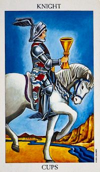 Knight of Cups Tarot Card Meanings Keywords    Upright: Romance, charm, 'Knight in shining armour', imagination    Reversed: Unrealistic, jealousy, moodiness