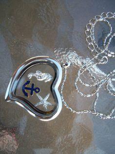 Locket Charm Necklace Anchor Starfish SeaHorse Birthstone. $14.00, via Etsy.