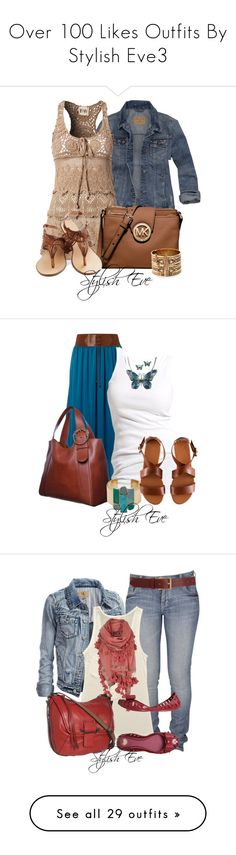 """""""Over 100 Likes Outfits By Stylish Eve3"""" by stylisheve ❤ liked on Polyvore featuring Hollister Co., F.A.V, MICHAEL Michael Kors, Lucky Brand, women's clothing, women, female, woman, misses and juniors"""