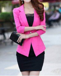 $10.30 Lace Stitching Beam Waist Single Button Cotton Blend Solid Color Blazer For Women