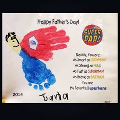 Father's Day Superhero Handprint/Footprint craft....