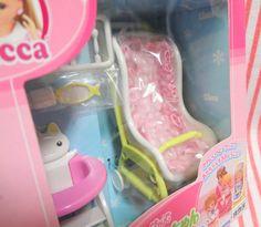 japanese toys, dollhouse, toy, takara, licca chan, baby stroller, cart, pram, high chair, cat, kawaii.