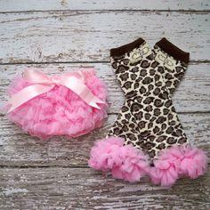 Baby Girl TuTu Bloomers Chiffon Ruffle Diaper Cover Pink Leopard Legwarmers Set CAKE SMASH OUTFIT