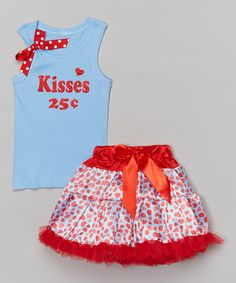 Red 'Kisses 25¢' Tank & Pettiskirt - Infant, Toddler & Girls by So Girly & Twirly #zulily #zulilyfinds