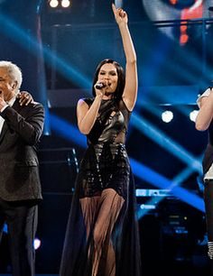 jessie j in a falguni and shane peacock dress on the final of the voice uk
