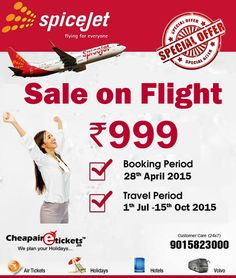 Sale on Flights..Book domestic flights tickets for Business or Luxury holiday.. Fare starting From Rs 999/-
