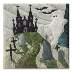 Ghost in the Graveyard block, in the Halloweenies quilt by McKenna Rya