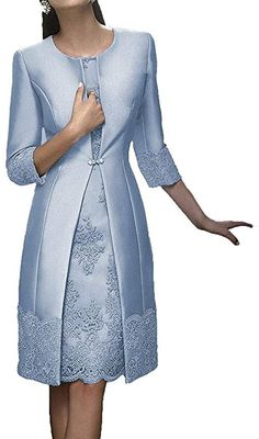 Mother Of Bride Outfits, Mothers Dresses, Mother Of The Bride, Short Mothers Dress, Mode Outfits, Girly Outfits, Banquet Dresses, Long Sleeve Evening Dresses, Tea Length Dresses
