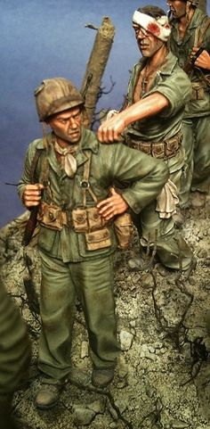 """""""Ghosts of Bloody Nose Ridge"""" 1st Marines on Peleliu October 1944. 1/35 scale. By Brian Wildfong. Pacific Theater #WW2 #diorama"""