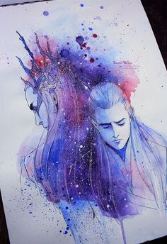 This Awesome colour splash drawing of King Thranduil and Legolas Hobbit Art, O Hobbit, Legolas Und Thranduil, Gandalf, Elfa, Fanart, Lord Of The Rings, Middle Earth, Amazing Art