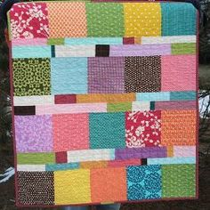 Blocks and Stripes Baby Quilt  From our charm squares!   Easy!