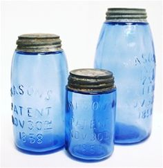 These are beautiful! I have some of the turquoise ones that my Mom found in the shed behind the house where I was born. Just love the look of vintage jars! Antique Bottles, Vintage Bottles, Bottles And Jars, Glass Bottles, Antique Glassware, Ball Canning Jars, Ball Jars, Vintage Mason Jars, Blue Mason Jars