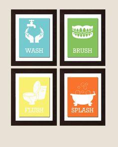 Wash Brush Flush Splash, Bathroom Rules, Girl Bathroom Decor, Bathroom Wall Art, Bathroom Wall Art, Colorful Bathroom Art, Choose Your Color by FKArtDesign on Etsy