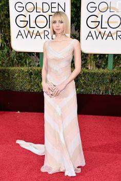2016 Golden Globes Red Carpet -Zoe Kazan opts for a geometric tri-color pastel chiffon V-neck dress by Miu Miu #MiuMiuCelebs