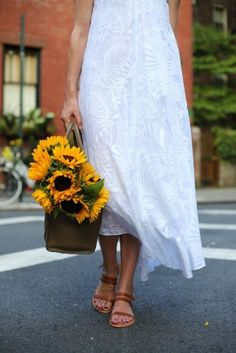 Long white dress and flowers
