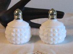 Milk Glass Salt Pepper Shakers Diamond Shaped by LasLovelies