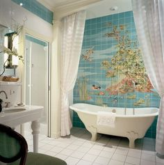 white tile on floor and color in shower