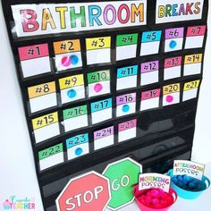 Bathroom Management in the Classroom (A Cupcake for the Teacher) Bathroom Management in the Classroom First Grade Classroom, Classroom Setup, Future Classroom, School Classroom, Classroom Procedures, Classroom Behavior Management, Classroom Organisation, Class Management, Organization Ideas