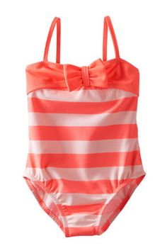 New Baby Girl Gifts:  Infant Coral Striped Swim One-Piece Bathing Suit @ OshKosh B'gosh
