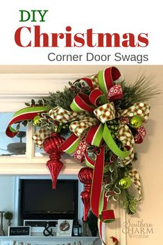 DIY Designer Christmas Corner Swags In the Southern Charm Wreaths virtual wreath making of the month club, learn to make holiday decor for all seasons including our signature corner swags. Save money by making your own holiday decor. Christmas Door Decorations, Christmas Swags, Christmas Mantels, Noel Christmas, Outdoor Christmas, Christmas Projects, Burlap Christmas, Christmas Ideas, Christmas Wreaths To Make