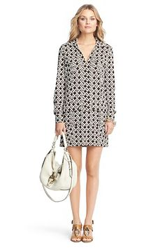 Dilly Printed Silk Jersey Tunic Dress  In Canning Mocha