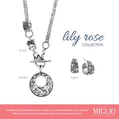 Versatile Lily Rose belcher chain necklace with classic Swarovski crystals ,complimentary enhancer and ear-rings Silver Hoops, Silver Hoop Earrings, Jewelry Design, Designer Jewellery, Swarovski Crystals, Bracelets, Necklaces, Delicate, Ear Rings