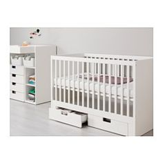 IKEA - STUVA, Crib with drawers, The bed base can be placed at two different heights.One crib side can be removed when the child is big enough to climb into/out of the crib.Your baby will sleep both safely and comfortably as the durable materials in the crib base have been tested to ensure they give their body the support it needs.The crib base is well ventilated for good air circulation which gives your child a pleasant sleeping climate.