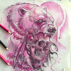 Polar bear warrior sketch up for grabs! @electricgrizzlytattoo #worldofpencils #pencil #sketch #polarbears