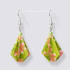 Origami Flower Drop Earrings - HZ379 Dangly Earrings, Drop Earrings, Origami Artist, Origami Flowers, Japanese Paper, Blooming Flowers, Handmade Accessories, Great Gifts, Pearls