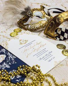 Mardi Gras inspired wedding invitation for a wedding in Nashville. ✨✨✨ www.atelierisabey Bohemian Chic Weddings, Mardi Gras, Nashville, Wedding Planning, Wedding Invitations, Wedding Inspiration, Inspired, Gold, Jewelry