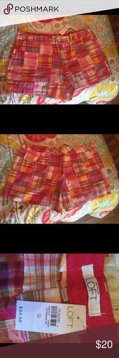 Loft shorts Never worn multi color  they have just been sitting in a drawer. I'm moving trying to clean out my closet. Loft shorts size 12 plaid multi  perfect condition LOFT Shorts