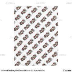 Fleece Blanket/Skulls and Roses Fleece Blanket