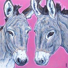 Custom Pet Portrait Painting on Canvas in Acrylic x of 2 Dogs, Donkeys, Horses, Ponies, Cats Gifts For Pet Lovers, Pet Gifts, Donkey Drawing, Barnyard Animals, Pet Portraits, Portrait Paintings, Pet Memorials, Animal Paintings, Colorful Backgrounds