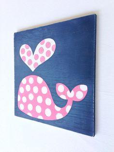 Hand Painted Polka Dot Whale on Wood, Navy Blue and Pink Nursery Art, Nautical Wall Art, Girls Nautical Nursery, Kids Bathroom Art, Whale