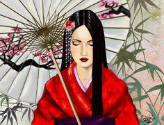 geisha con sombrilla - Buscar con Google